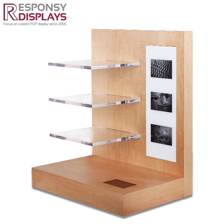 Counter  Wood Sunglasses Display Rack With Logo And Tiers