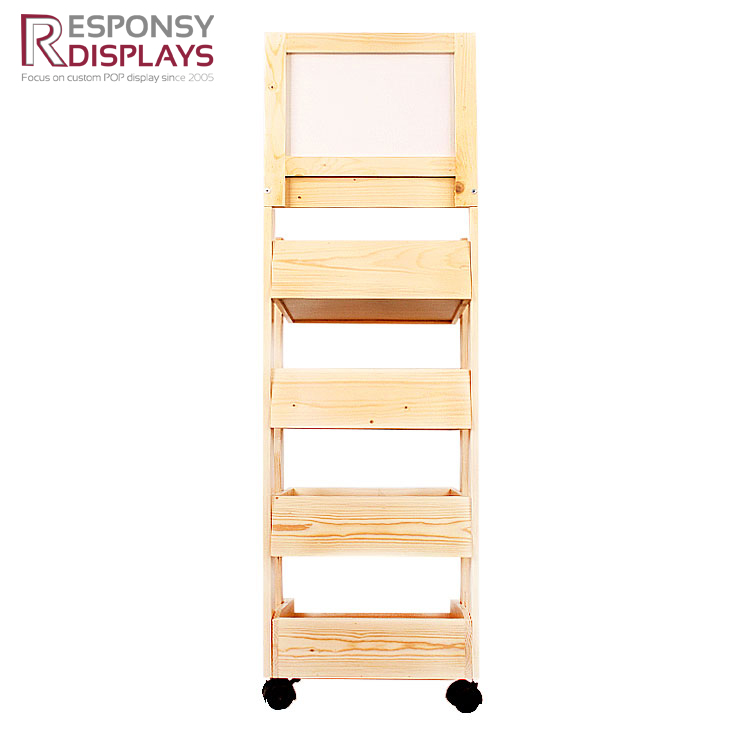 Wooden Three Tiers Mobile Portable Buddy Fruits Floor Display Shelves