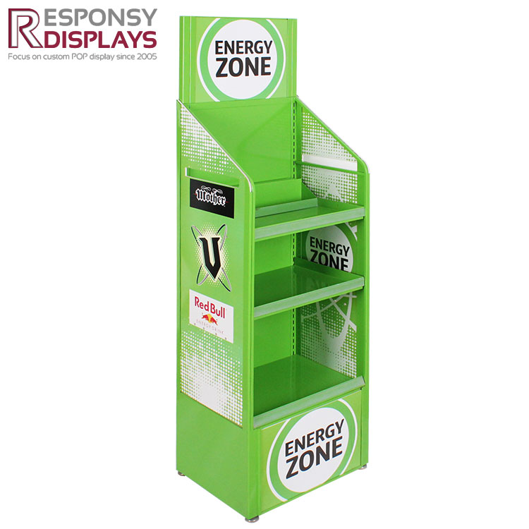 Permanent 4 Tiers Metal and PVC Floor Display Stand For Drinking
