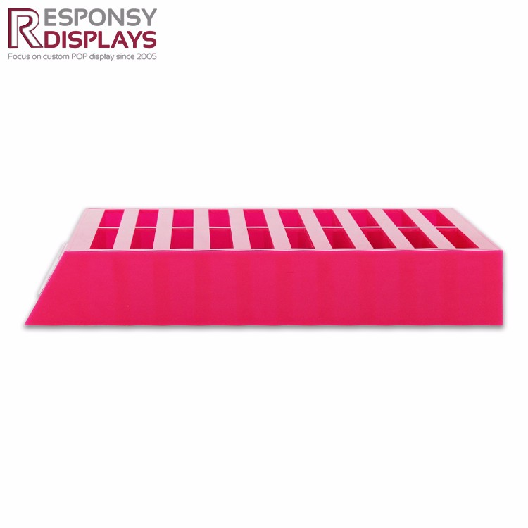 Pink Color Embossed White Logo Silk Stockings Acrylic Display Rack