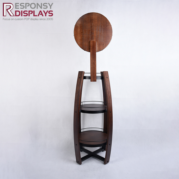 Wooden Floor Whiskey Display Stand For Shops