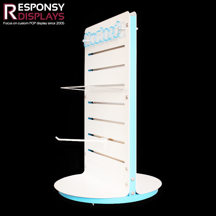 Hot-Sale Fashionable Countertop Rotating Display Rack With Pegs For Mustard