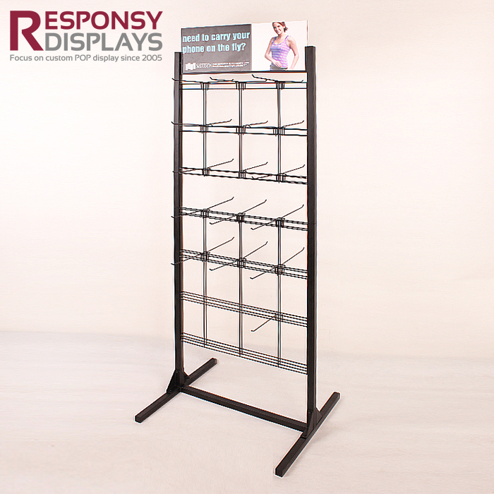Hot Sale Metal Floor Mobile Phone Accessories Display Customized Stand Rack