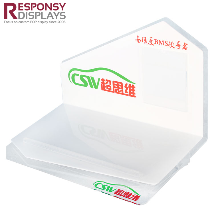 White and Clear Acrylic Table Battery Display Holder