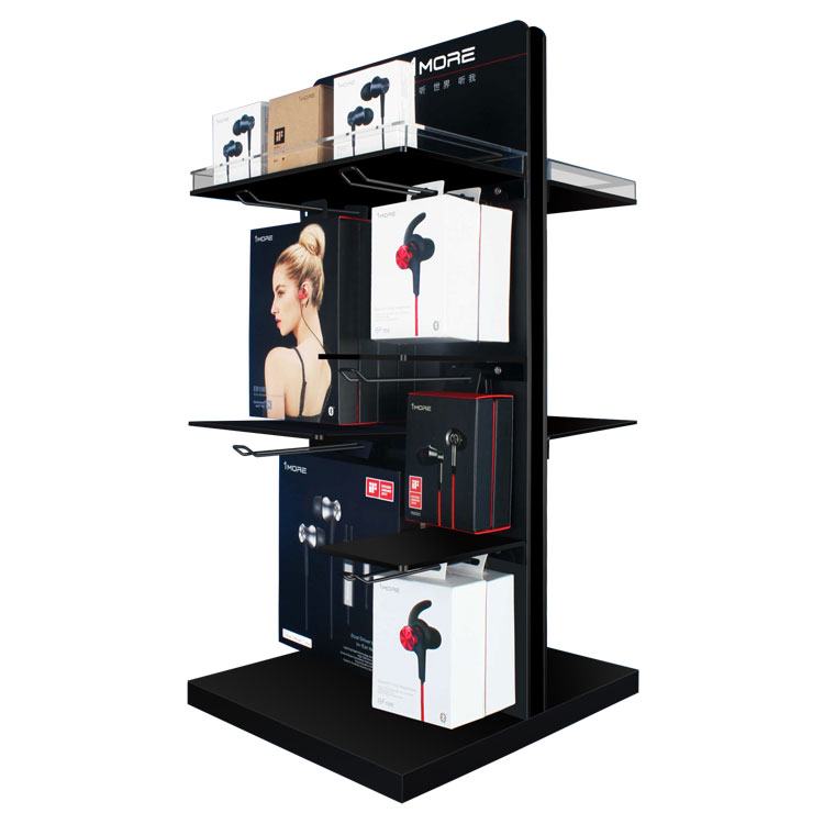 Attractive Style Counter Table Headset Shelf Acrylic and Metal Earphone Display Rack With Hooks