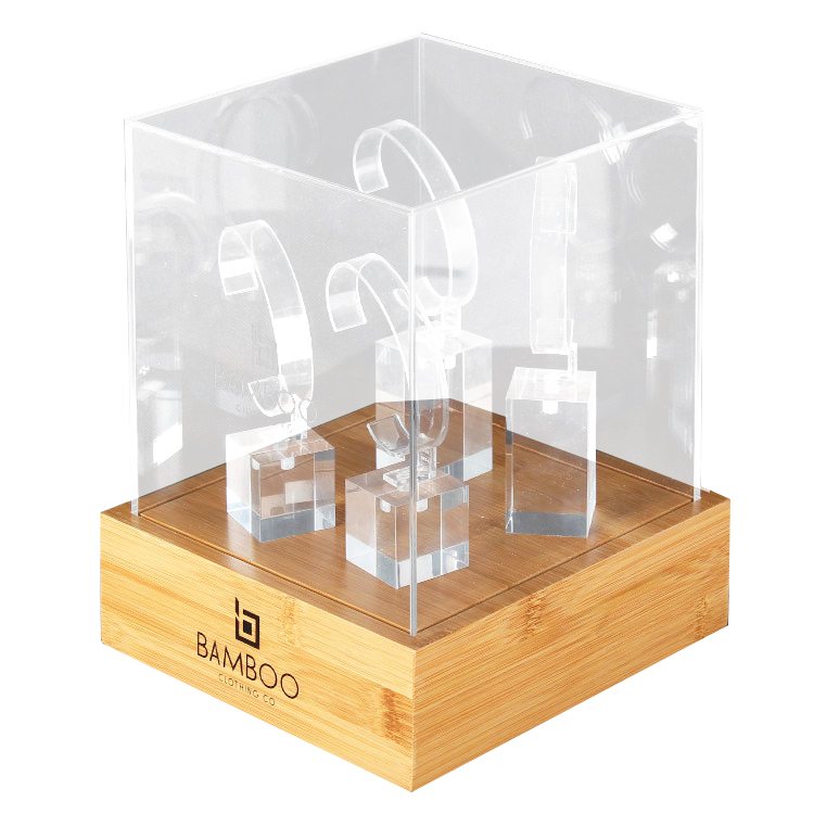 Hot Custom Logo Engraved Acrylic & Bamboo Watch Display Case Unit